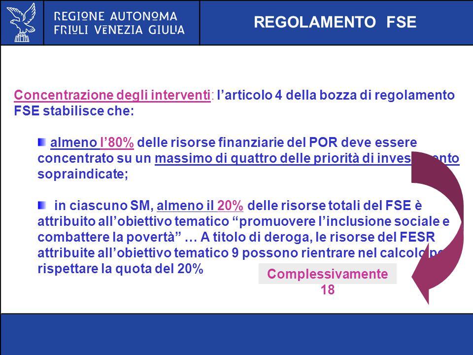 REGOLAMENTO FSE Concentrazione degli interventi: l'articolo 4 della bozza di regolamento FSE stabilisce che: