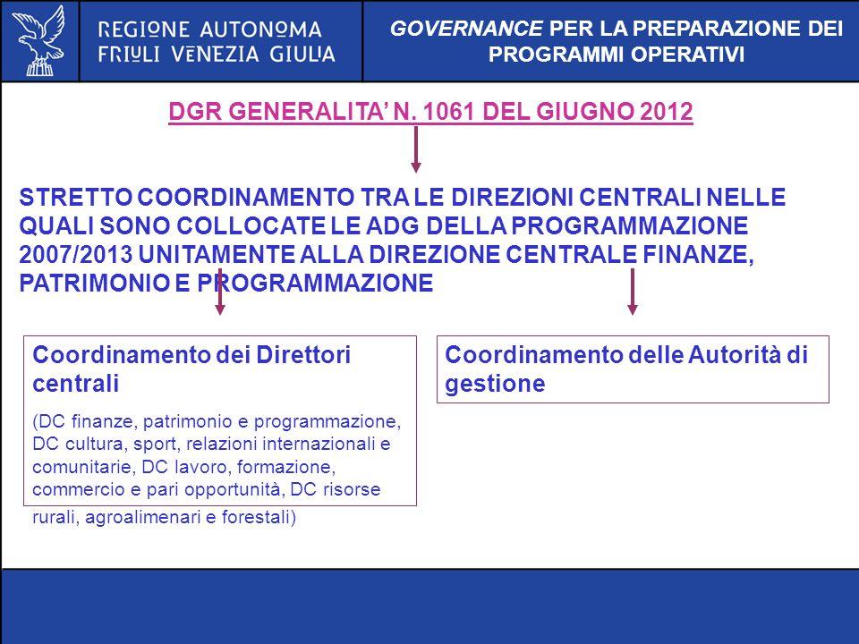 DGR GENERALITA' N. 1061 DEL GIUGNO 2012