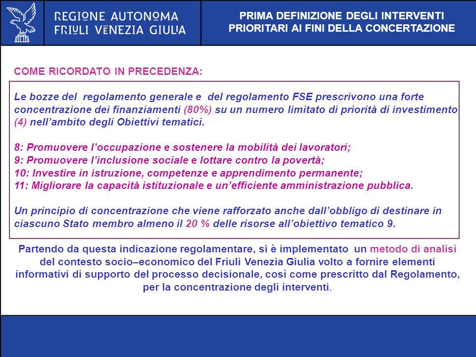 PRIMA DEFINIZIONE DEGLI INTERVENTI PRIORITARI AI FINI DELLA CONCERTAZIONE
