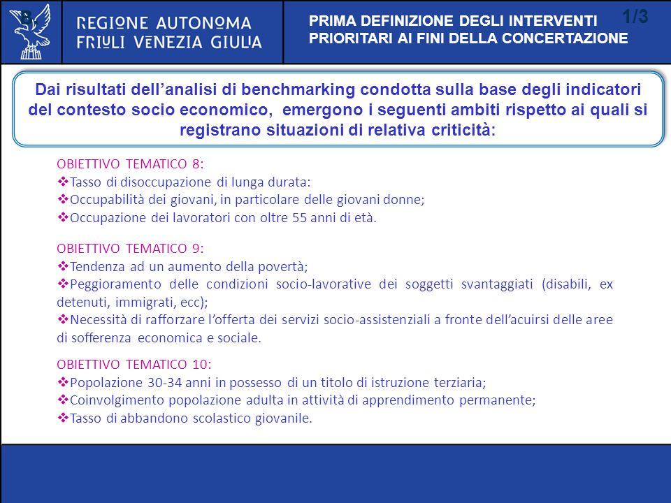B. 1/3. PRIMA DEFINIZIONE DEGLI INTERVENTI PRIORITARI AI FINI DELLA CONCERTAZIONE.