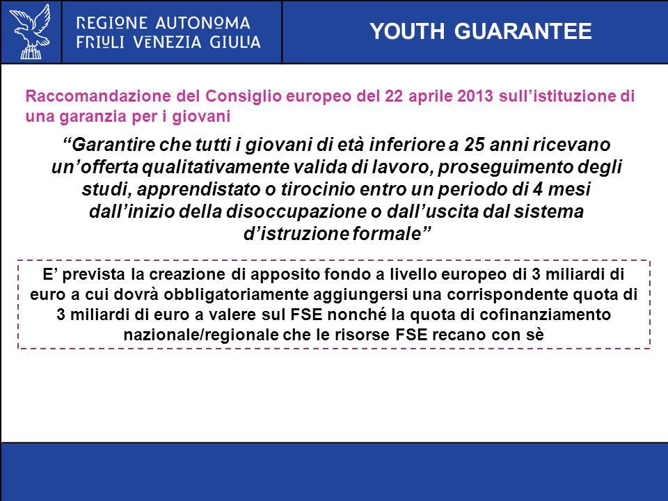 YOUTH GUARANTEE Raccomandazione del Consiglio europeo del 22 aprile 2013 sull'istituzione di una garanzia per i giovani.