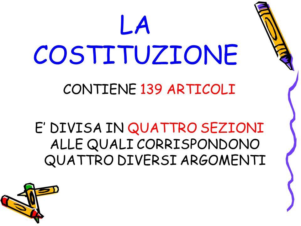 LA COSTITUZIONE CONTIENE 139 ARTICOLI