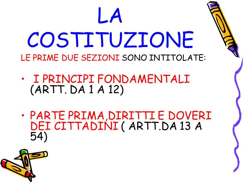 LA COSTITUZIONE I PRINCIPI FONDAMENTALI (ARTT. DA 1 A 12)