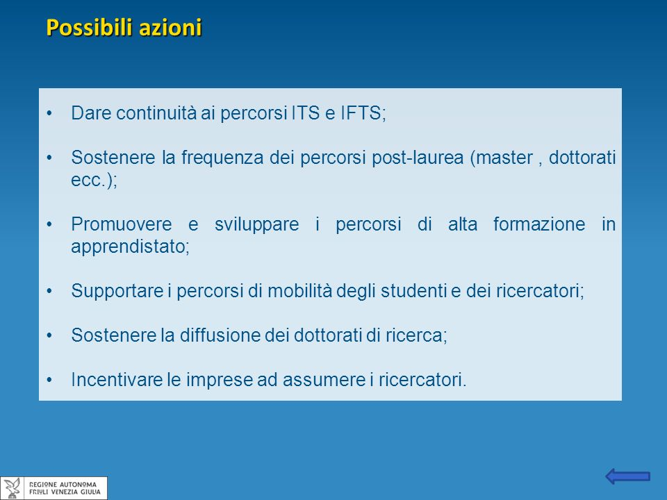 Possibili azioni Dare continuità ai percorsi ITS e IFTS;