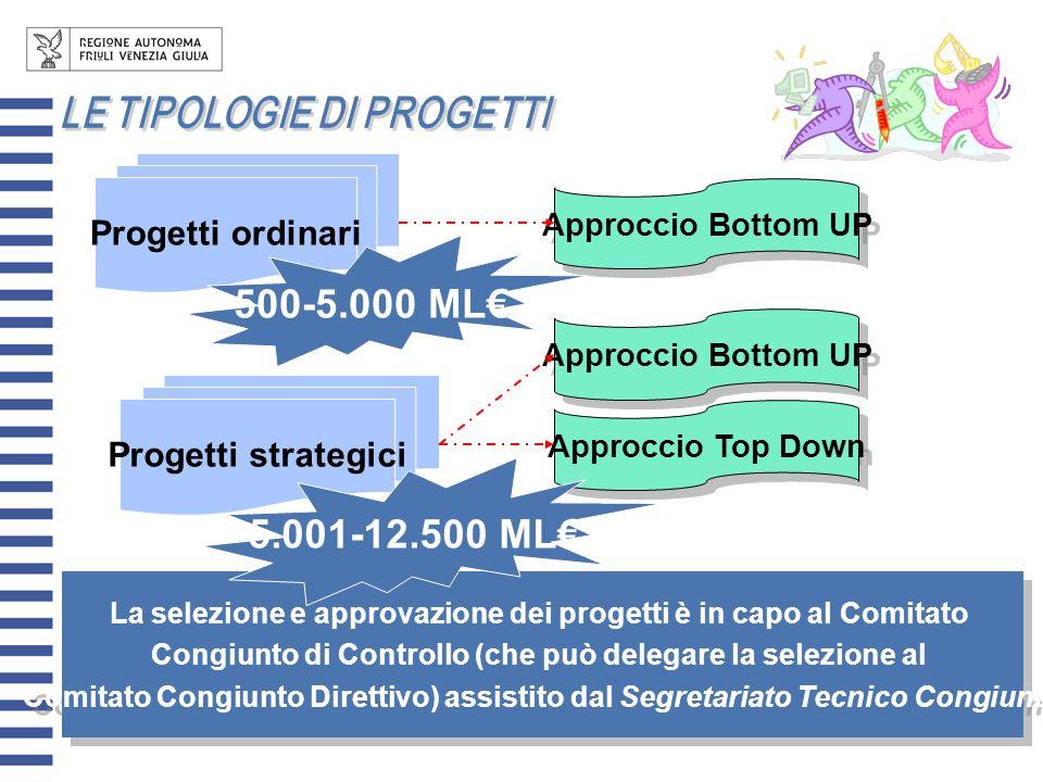 500-5.000 ML€ 5.001-12.500 ML€ Progetti ordinari Progetti strategici