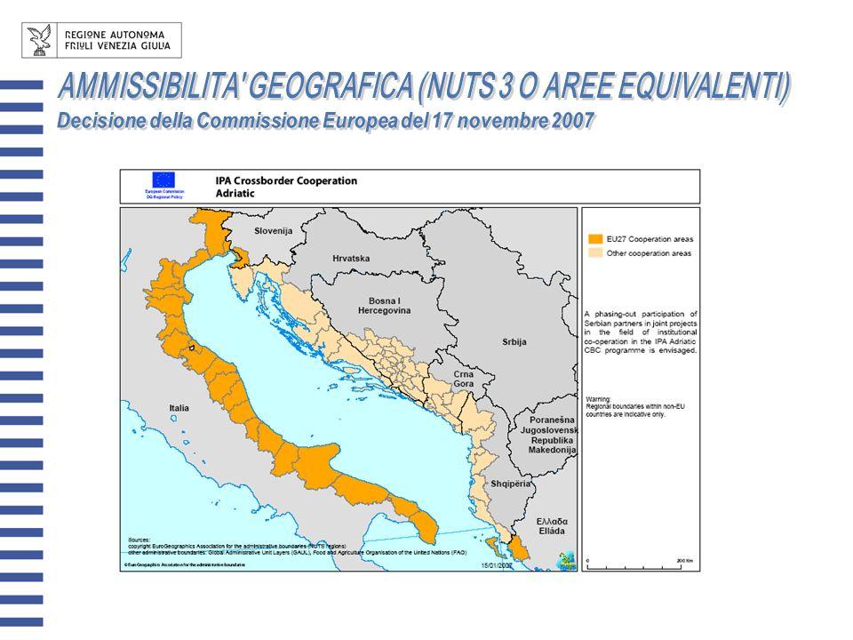 AMMISSIBILITA GEOGRAFICA (NUTS 3 O AREE EQUIVALENTI)