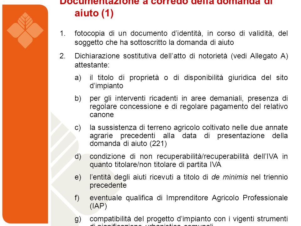 Documentazione a corredo della domanda di aiuto (1)