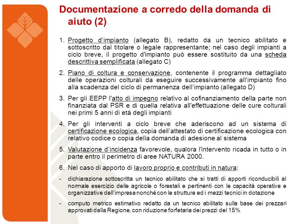 Documentazione a corredo della domanda di aiuto (2)