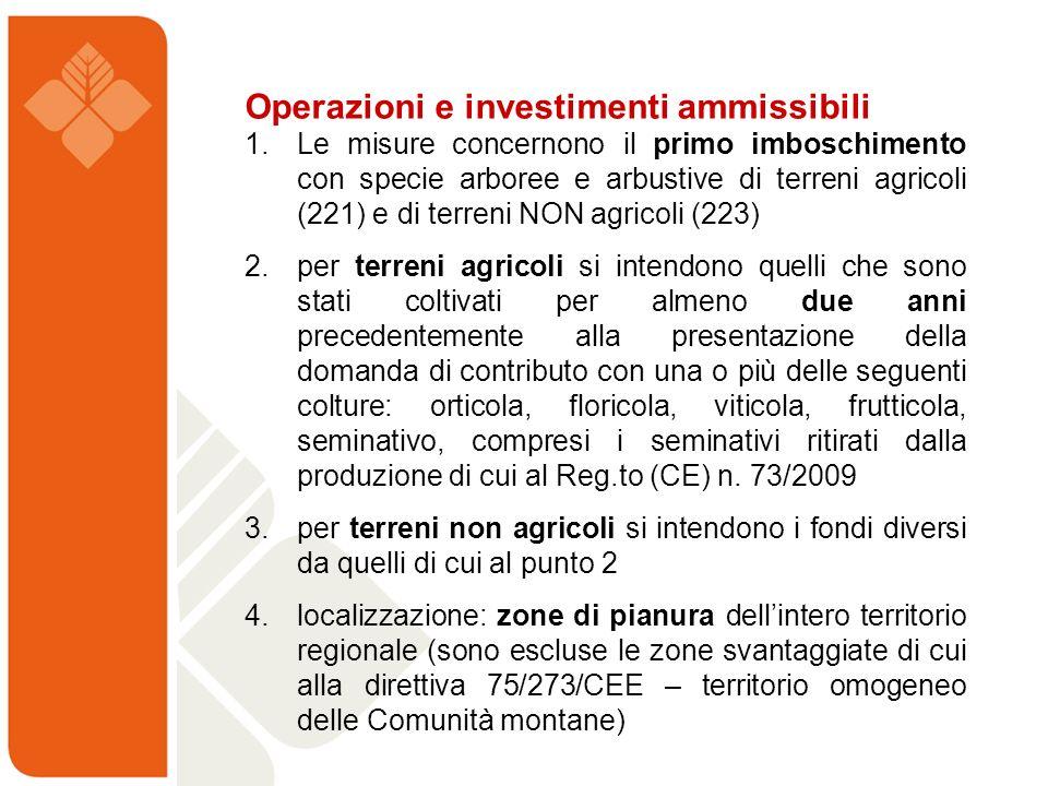 Operazioni e investimenti ammissibili