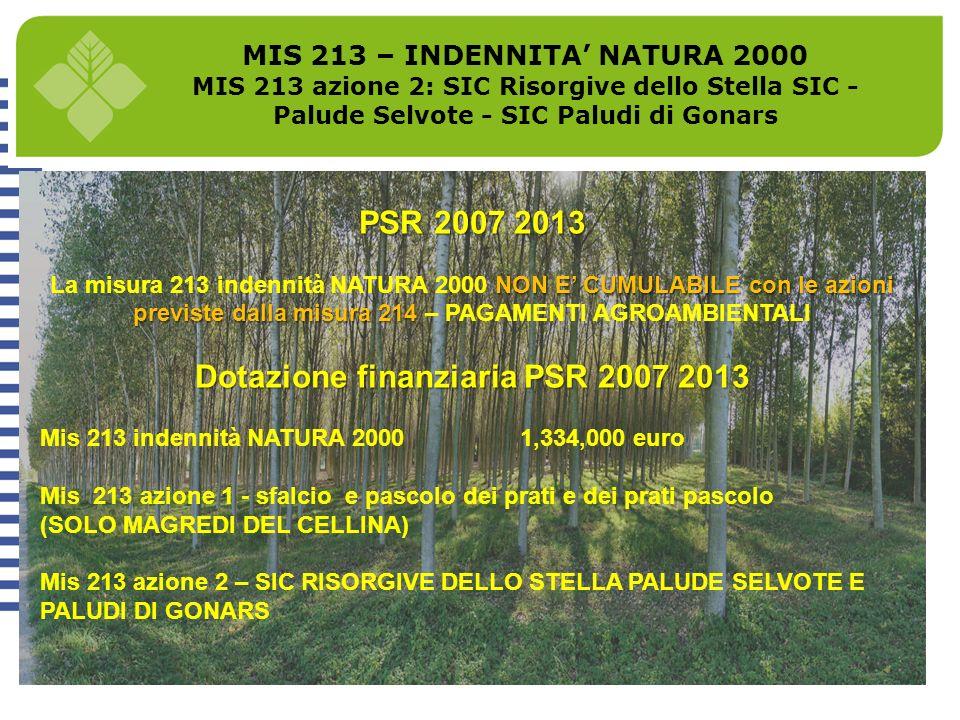 MIS 213 – INDENNITA' NATURA 2000 Dotazione finanziaria PSR 2007 2013