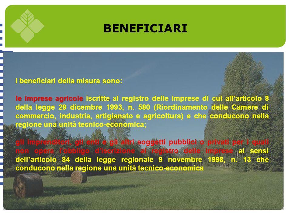 BENEFICIARI I beneficiari della misura sono: