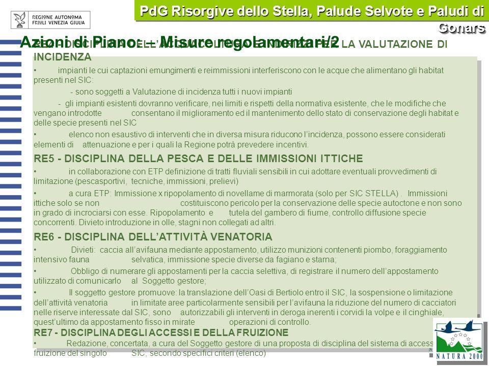 Azioni di Piano: – Misure regolamentari/2
