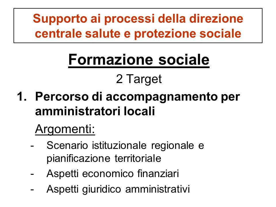 Supporto ai processi della direzione centrale salute e protezione sociale