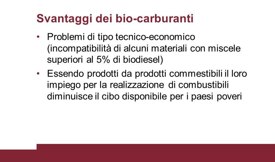 Svantaggi dei bio-carburanti