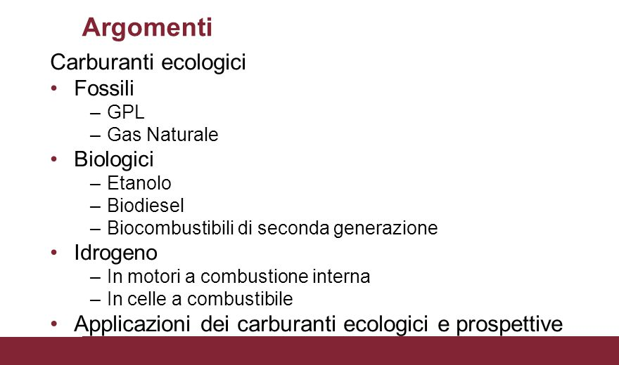 Argomenti Carburanti ecologici