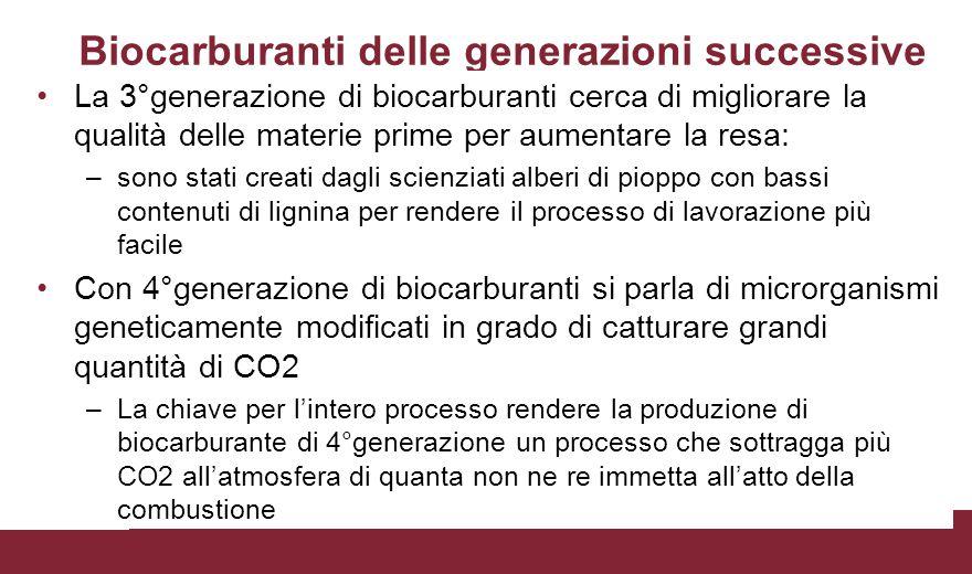 Biocarburanti delle generazioni successive