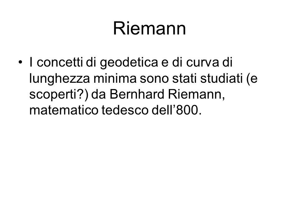 Riemann I concetti di geodetica e di curva di lunghezza minima sono stati studiati (e scoperti ) da Bernhard Riemann, matematico tedesco dell'800.