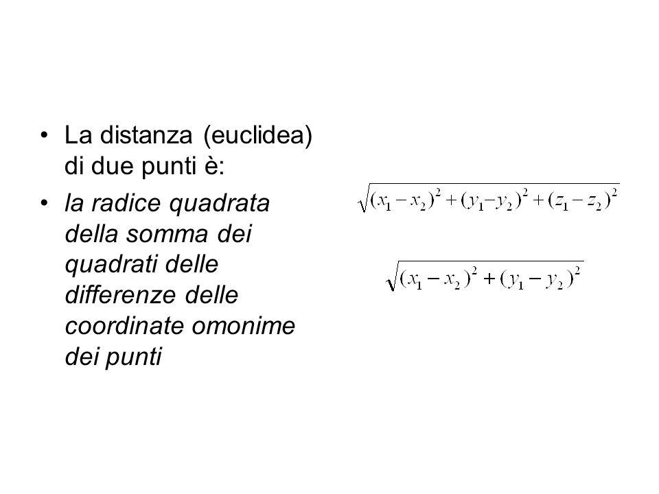 La distanza (euclidea) di due punti è: