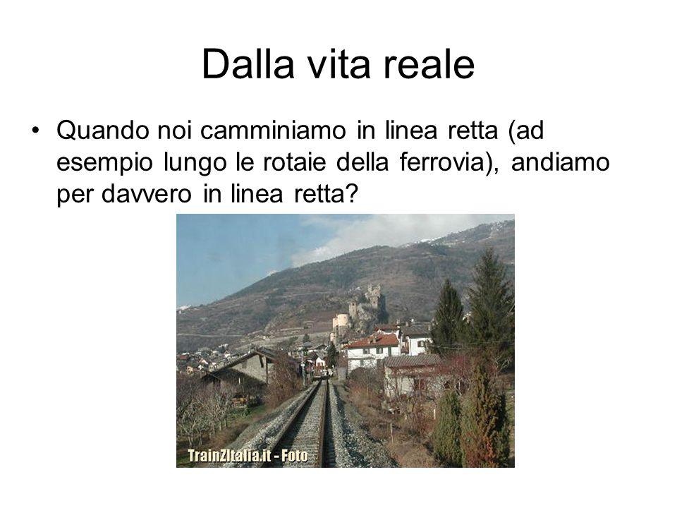 Dalla vita reale Quando noi camminiamo in linea retta (ad esempio lungo le rotaie della ferrovia), andiamo per davvero in linea retta