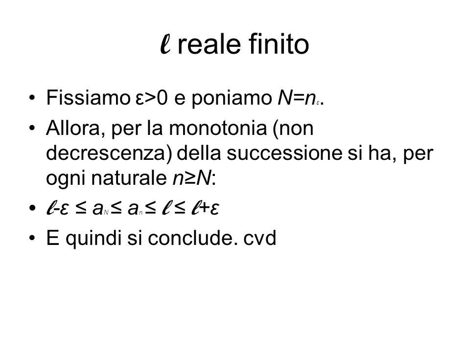 l reale finito Fissiamo ε>0 e poniamo N=nε.