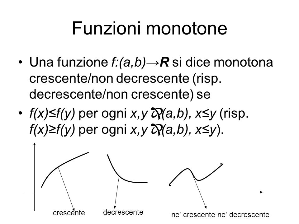 Funzioni monotone Una funzione f:(a,b)→R si dice monotona crescente/non decrescente (risp. decrescente/non crescente) se.