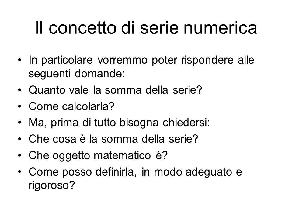 Il concetto di serie numerica