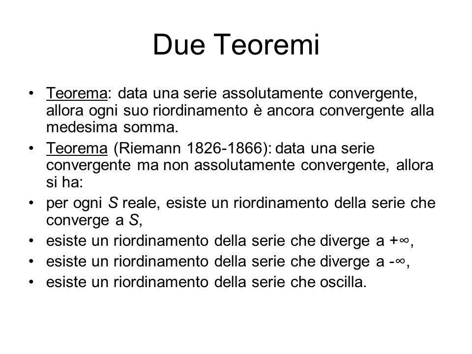 Due Teoremi Teorema: data una serie assolutamente convergente, allora ogni suo riordinamento è ancora convergente alla medesima somma.