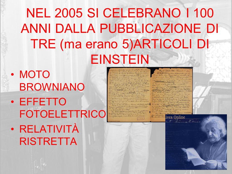 NEL 2005 SI CELEBRANO I 100 ANNI DALLA PUBBLICAZIONE DI TRE (ma erano 5)ARTICOLI DI EINSTEIN