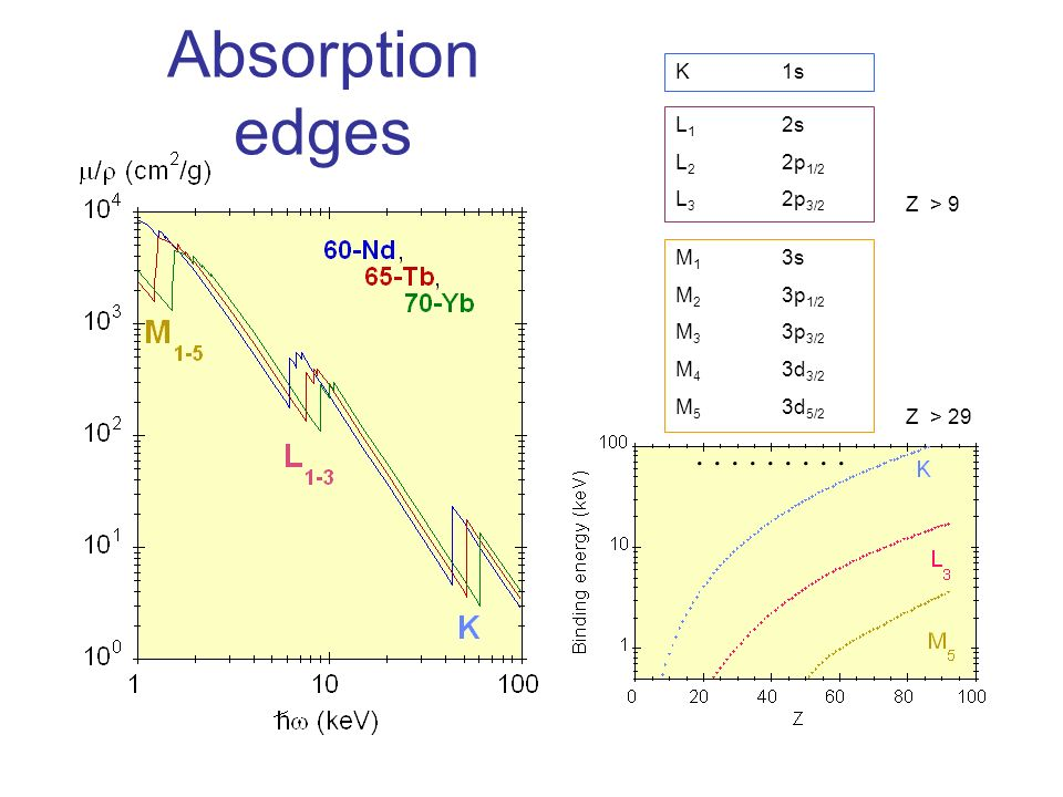 Absorption edges K 1s L1 2s L2 2p1/2 L3 2p3/2