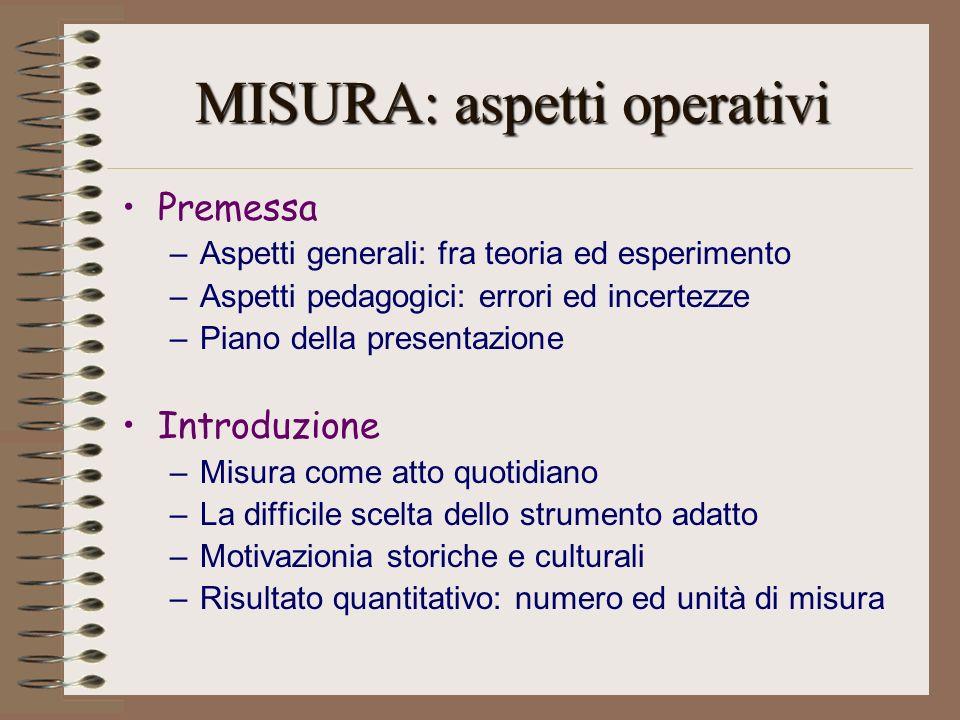 MISURA: aspetti operativi