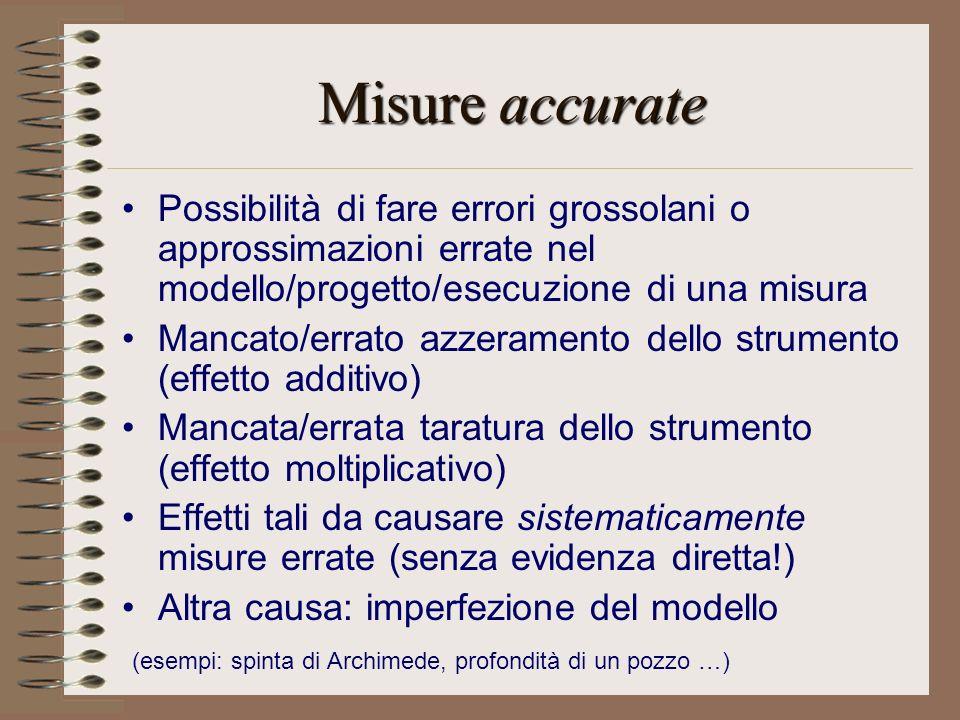 Misure accurate Possibilità di fare errori grossolani o approssimazioni errate nel modello/progetto/esecuzione di una misura.