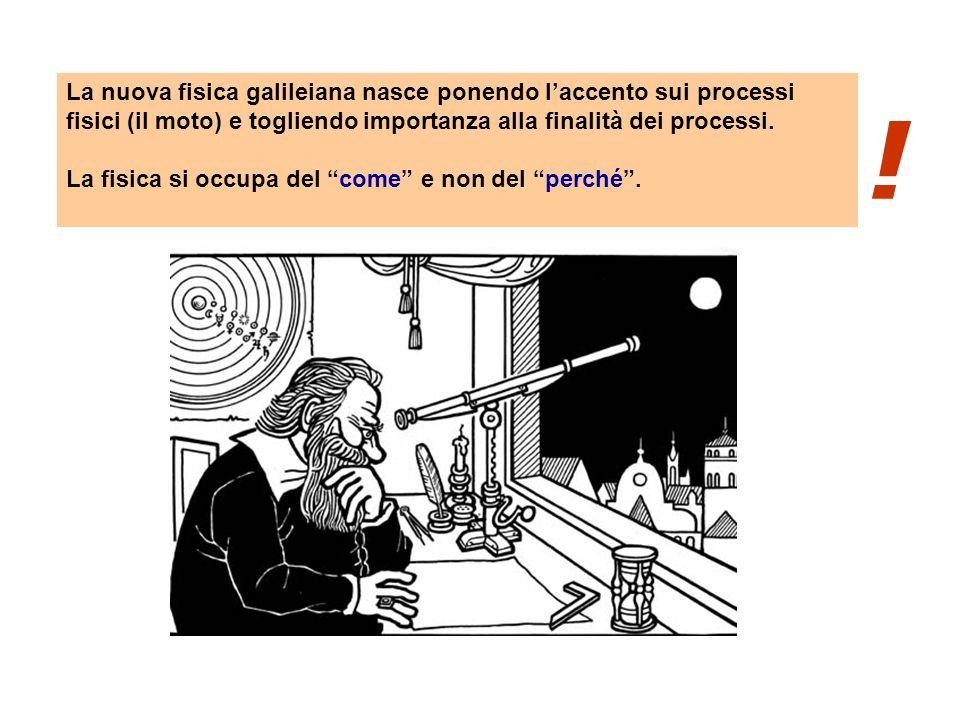 La nuova fisica galileiana nasce ponendo l'accento sui processi fisici (il moto) e togliendo importanza alla finalità dei processi.