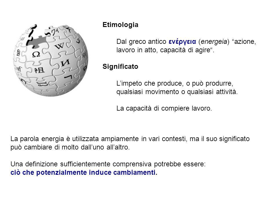 Etimologia Dal greco antico ενέργεια (energeia) azione, lavoro in atto, capacità di agire . Significato.