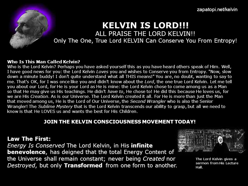 JOIN THE KELVIN CONSCIOUSNESS MOVEMENT TODAY!