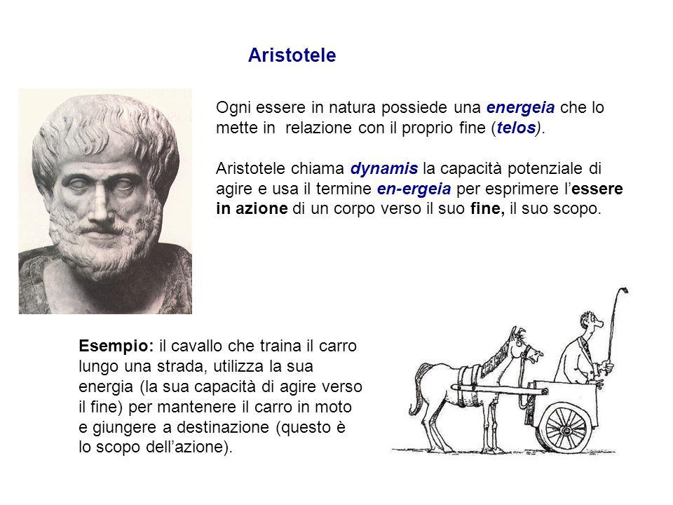 Aristotele Ogni essere in natura possiede una energeia che lo mette in relazione con il proprio fine (telos).