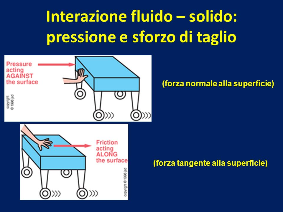 Interazione fluido – solido: pressione e sforzo di taglio