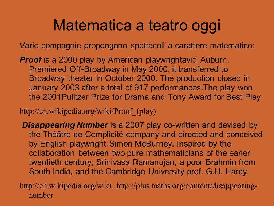 Matematica a teatro oggi