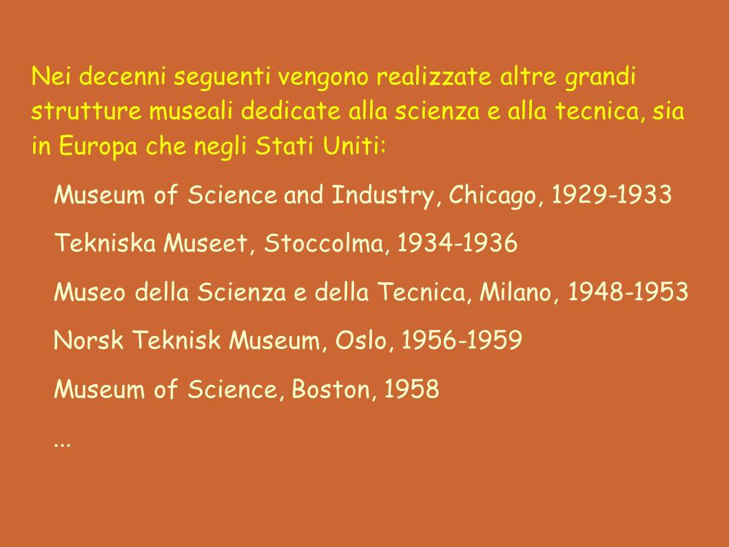 Nei decenni seguenti vengono realizzate altre grandi strutture museali dedicate alla scienza e alla tecnica, sia in Europa che negli Stati Uniti: