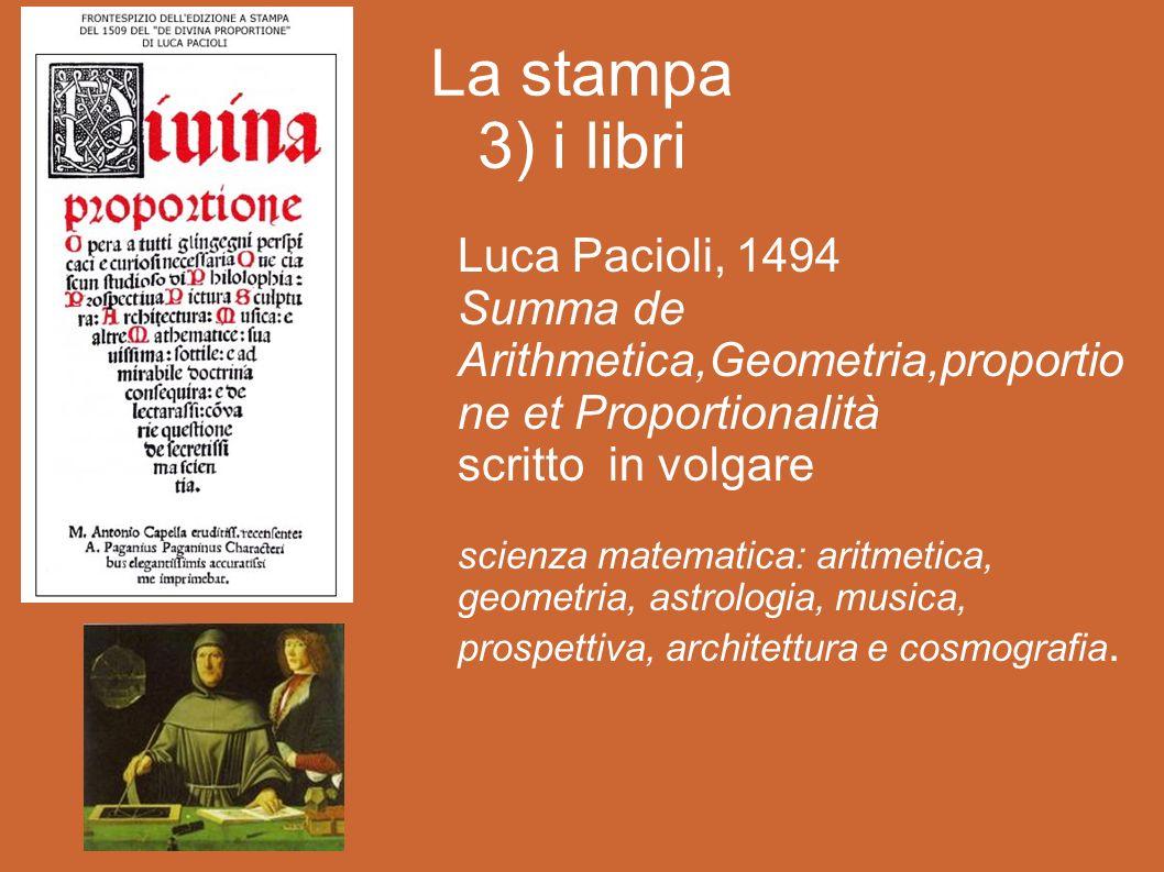 La stampa 3) i libri Luca Pacioli, 1494
