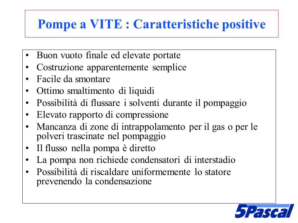 Pompe a VITE : Caratteristiche positive