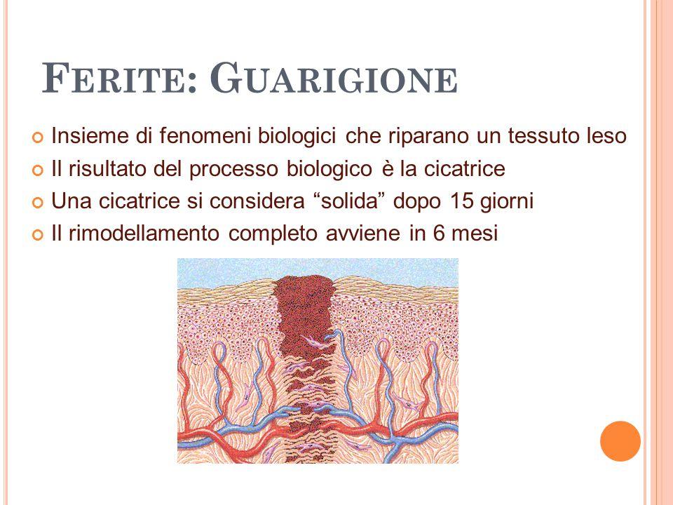 Ferite: Guarigione Insieme di fenomeni biologici che riparano un tessuto leso. Il risultato del processo biologico è la cicatrice.