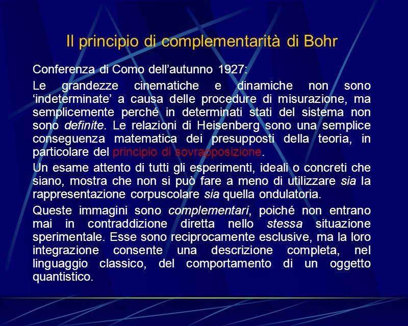 Il principio di complementarità di Bohr