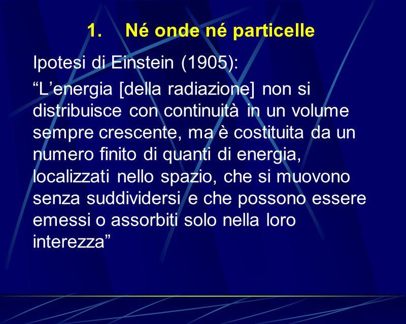 Né onde né particelle Ipotesi di Einstein (1905):