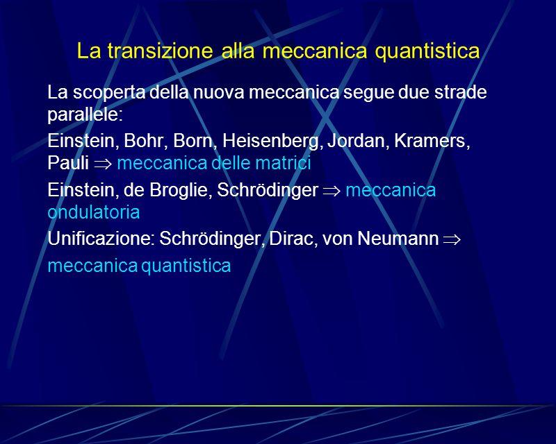 La transizione alla meccanica quantistica