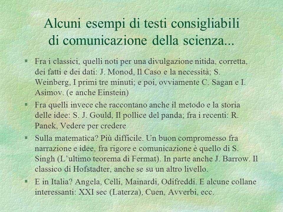 Alcuni esempi di testi consigliabili di comunicazione della scienza...