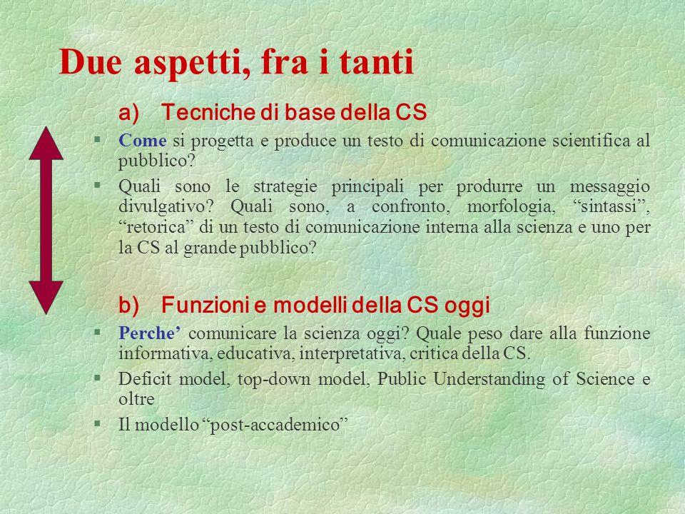 Due aspetti, fra i tanti a) Tecniche di base della CS
