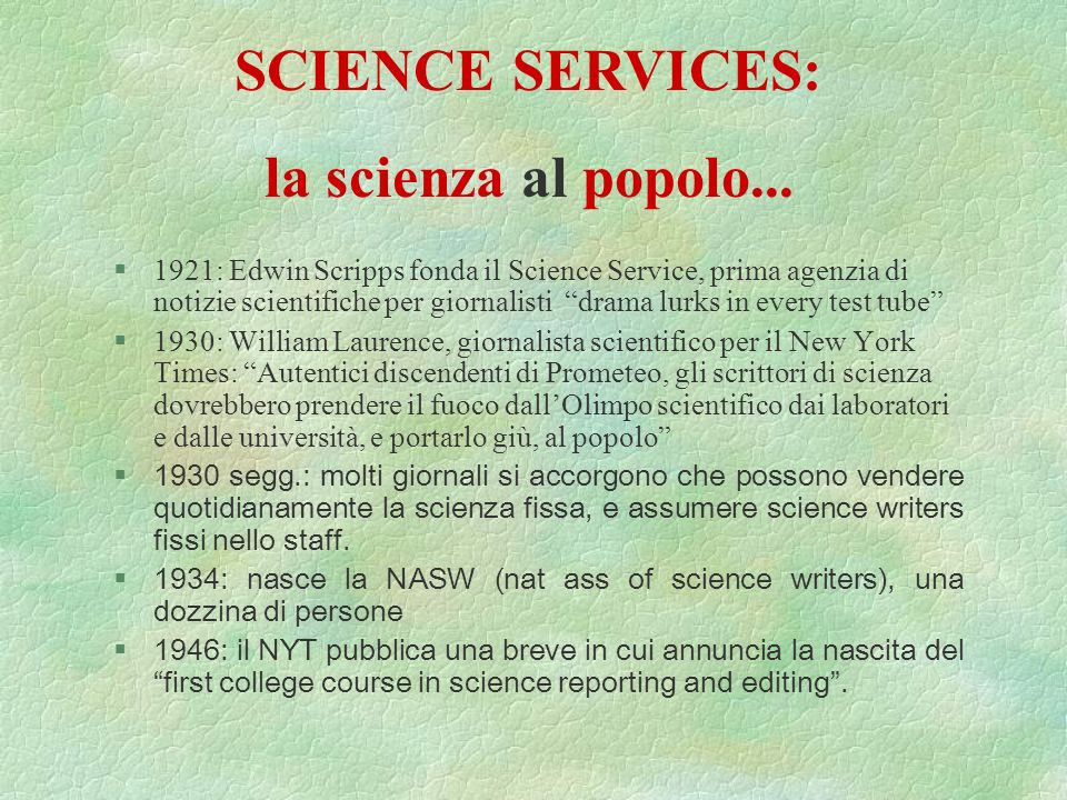 SCIENCE SERVICES: la scienza al popolo...