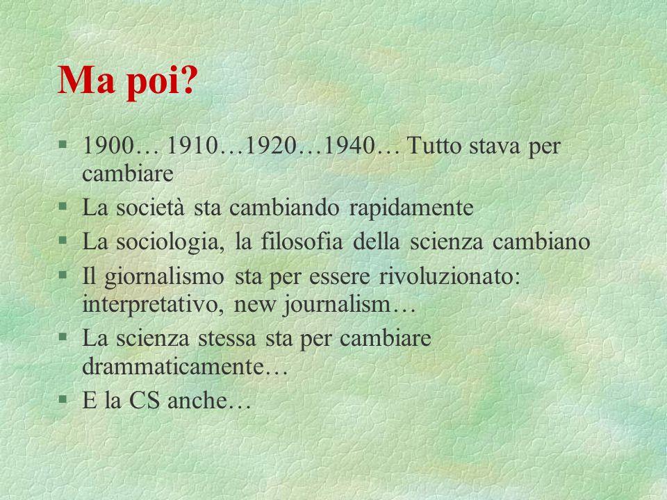 Ma poi 1900… 1910…1920…1940… Tutto stava per cambiare