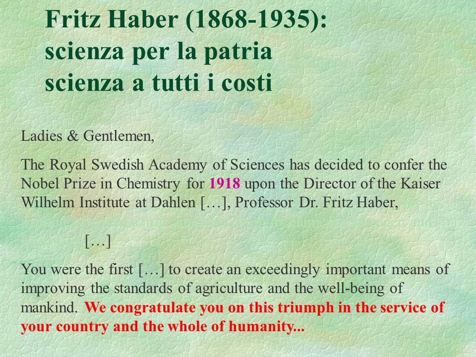 Fritz Haber (1868-1935): scienza per la patria scienza a tutti i costi