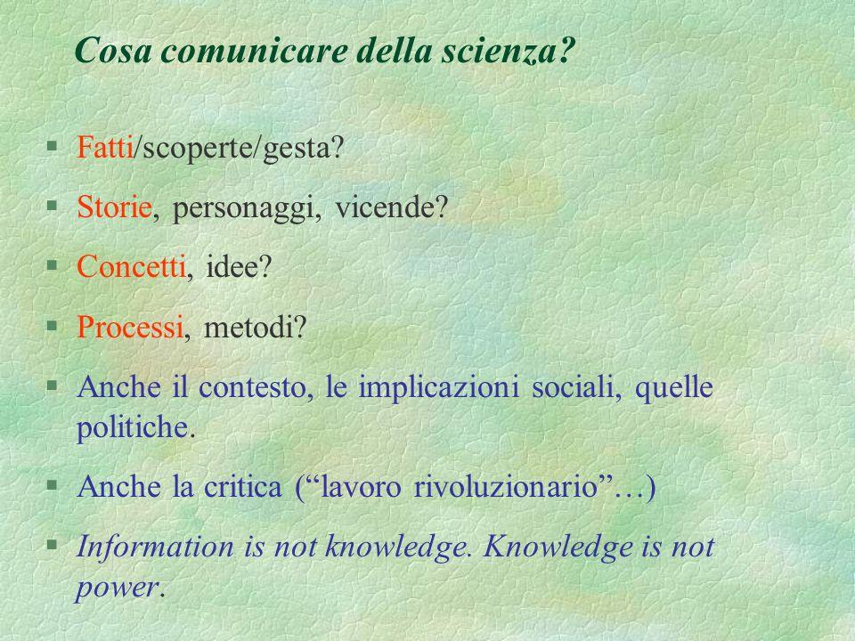 Cosa comunicare della scienza